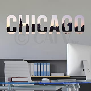 Chicago Lettering Skyline vinyl lettering decal home decor wall art saying