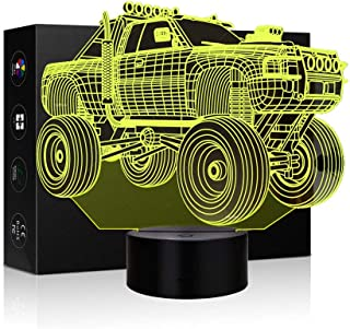 Night Light 3D Illusion Lamp Monster Truck Touch Table Desk Lamps 7 Color Changing Optical Illusion LED Lights Animal Figure Table Lamp Childrenroom Theme Decoration and Kiddie Family Holiday Gift