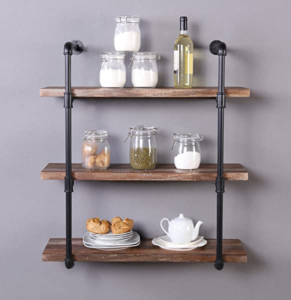 Homissue 31 5 Inch Industrial Pipe Shelf 3 Shelf Metal Bookcases Furniture Retro Brown