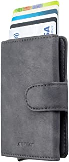 Credit Card Holders Leather Wallet RFID Blocking Metal Card Case Bifold Wallet Automatic Pop Up for Men and Women, Grey