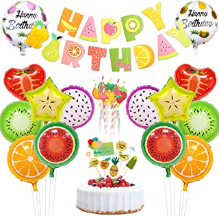 JOYMEMO Tutti Frutti Party Decorations Fruit Happy Birthday Banner Paper Straws Cake Topper Foil Balloons for Fruity Party Supplies