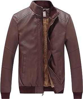 WenVen Men&#39s Winter Fashion Faux Leather Jacket