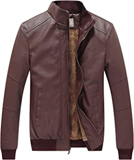 Men's Winter Warm Motorcycle Outerwear Vintage Fashion Faux Leather Jackets