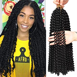6Pcs Passion Twist Hair 18 Inch Braiding Water Wave Crochet Hair for Passion Twist Bohemian Curly Hair for Crochet Braids Twist (1B)