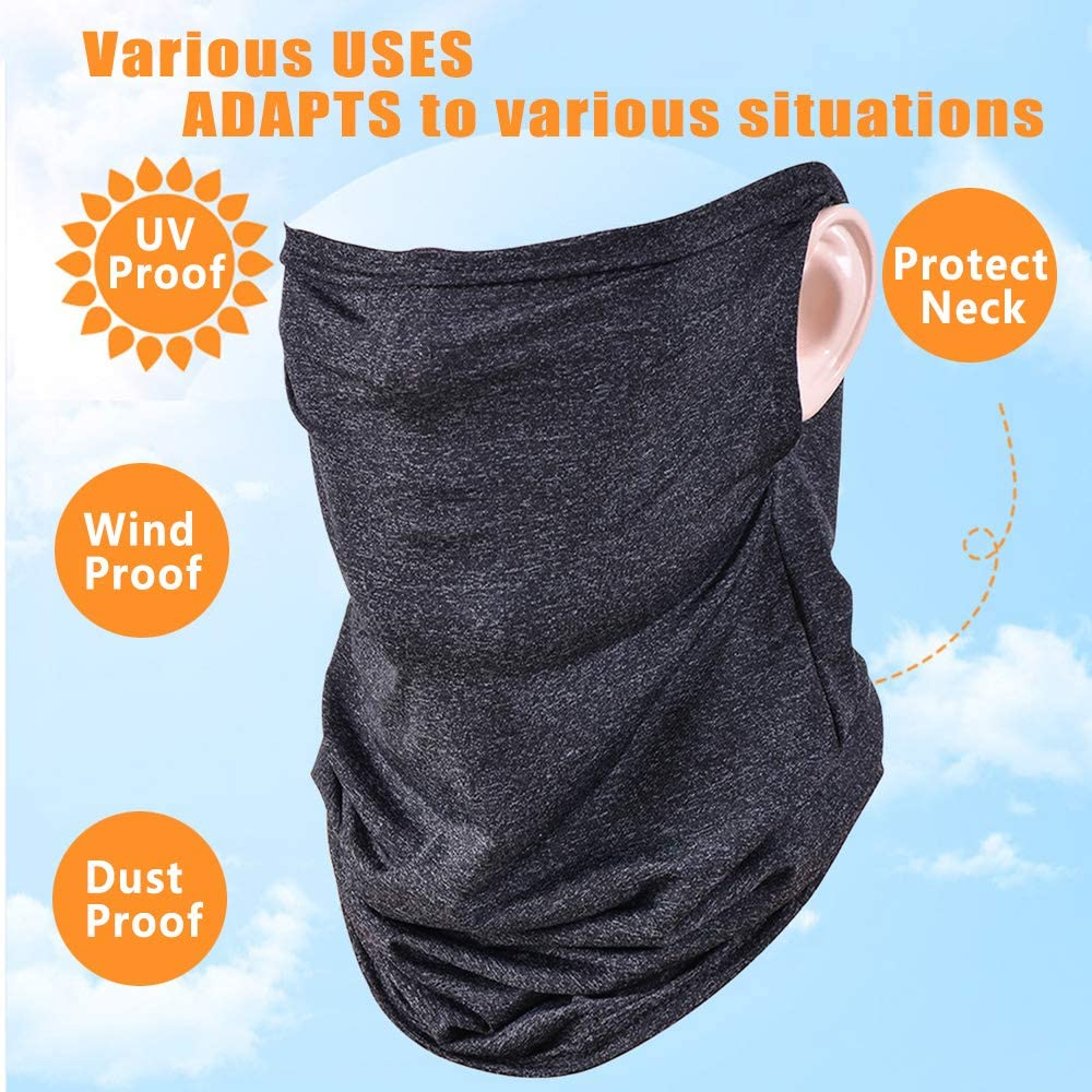 Ear Loop Neck Gaiter Windproof Breathable Scarf Headwear Bandana for Sports Outdoor Fishing Hiking Cycling