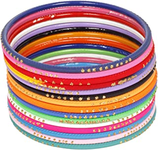 Ratna creation SANARA Indian Bollywood Multi Color Plain Bangle Box for Women & Girls Wedding wear 72 Pcs Bangles Bracelet...