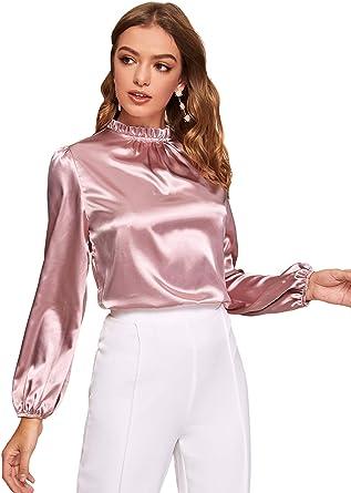 DIDK Blusa de satén para mujer, de manga larga, cuello alto, para oficina