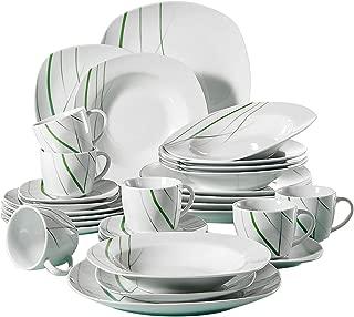 VEWEET Aviva 30 Piezas Vajillas de Porcelana Juegos con 6