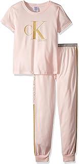 Calvin Klein Girls' Little 2 Piece Sleepwear Top and Bottom Long Sleeve Pajama Set Pj