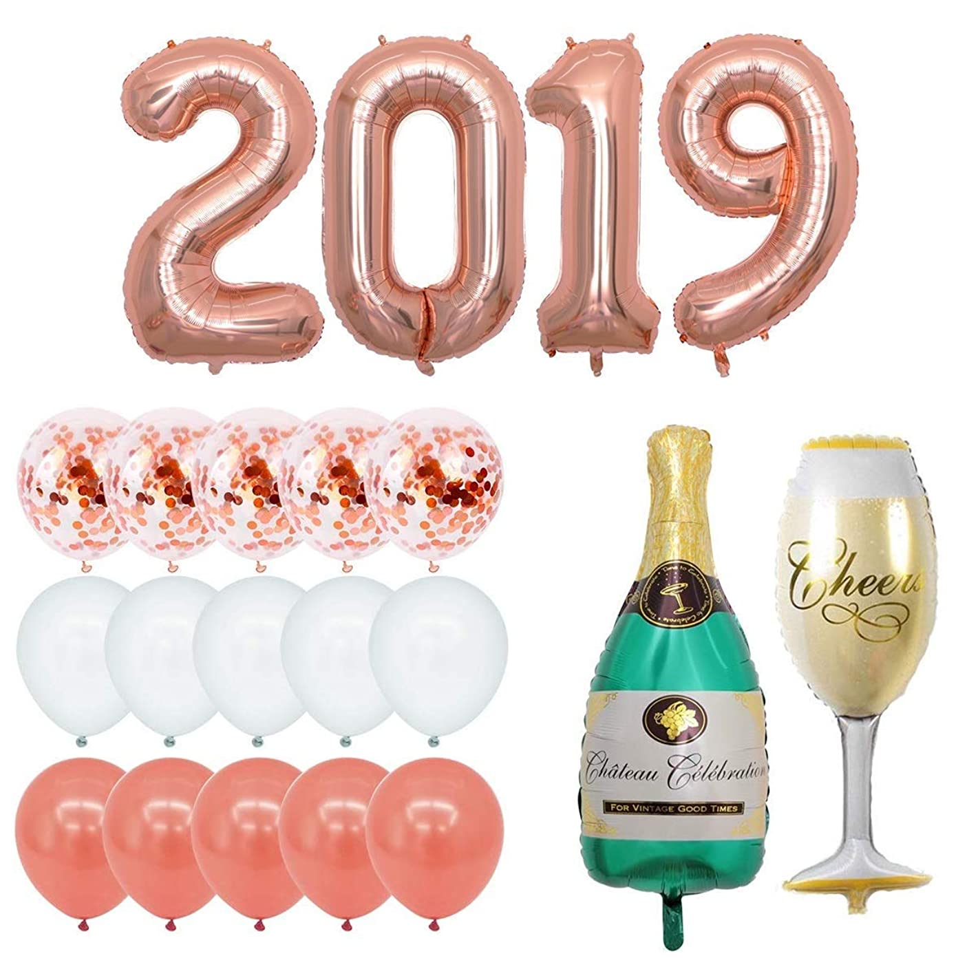40 inch 2019 Rose Gold Foil Balloon Champagne Bottle Goblet Pre-Filled 12inch Confetti Balloons for 2019 New Year PartyDecoration Graduation Celebrations