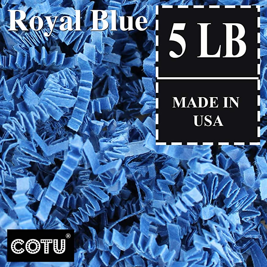 COTU (R) 5 LB Royal Blue Crinkle Shred Gift Basket Shred Crinkle Paper Filler Bedding (80 oz) in a Box