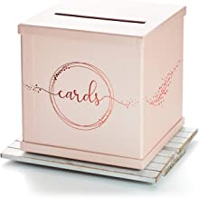 Hayley Cherie - Pink Gift Card Box with Rose Gold Foil Design- Textured Finish - Large Size 10
