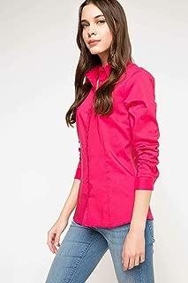 DeFacto Uzun Kol Basic Gömlek Pembe XS