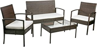 Merax 4 PCS Rattan Furniture Set Patio Wicker Cushioned Set Garden Sofa Set (Beige Cushion)