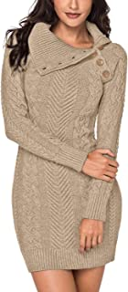 Women's Asymmetric Button Collar Cable Knit Bodycon Sweater Dress