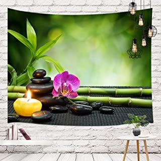 Asian Japanese Zen Stone Tapestry Wall Hanging, Lotus Flower with Green Bamboo Candle for Meditation Spa Panel Wall Tapest...