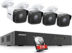 ANNKE H500 8CH 5MP H.265+ NVR PoE Home CCTV Camera System, 4X 5MP Wired Outdoor PoE IP Security Cameras, 100ft EXIR Night ...