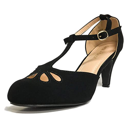 finest selection c6aec a70f2 Chase   Chloe New Kimmy-36 Women s Teardrop Cut Out T-Strap Mid Heel