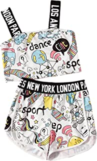 SheIn Girls 2 Piece Letter Unicorn Print Crop Cami Top and Shorts Set
