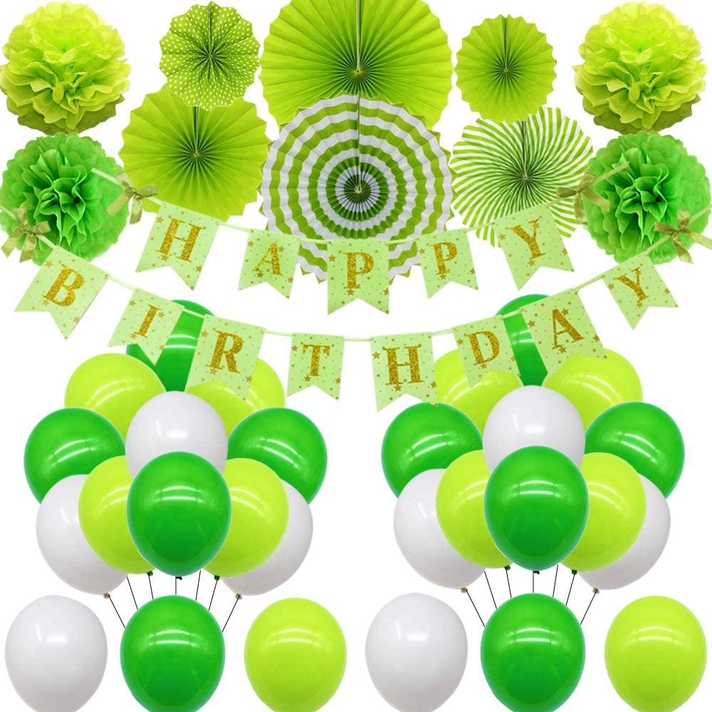 RBYOO Birthday Party Decoration for Girl Women Boy Men Happy Birthday Balloons Supplies with Happy Birthday Banner 4 Paper Pom Poms Flower 6 Paper Fans Set and Balloons for Sweet Happy Birthday Party