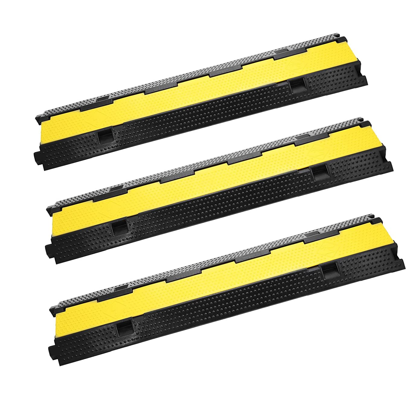 Happybuy Rubber Cable Protector Cover Ramp Speed Bumps (2-Channel, 3Pack0)