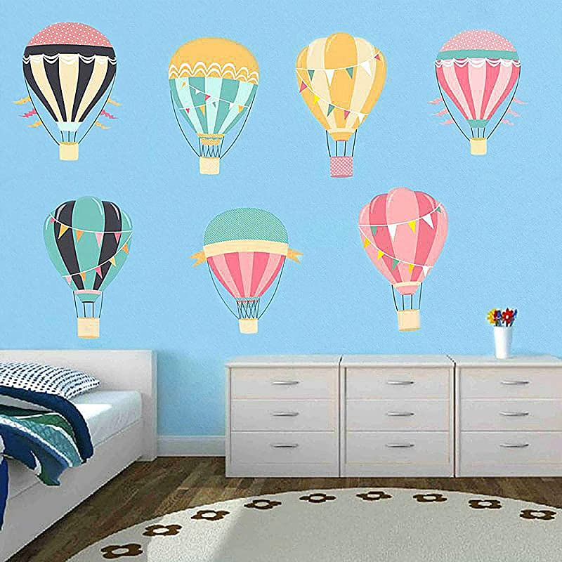 Huazhong Zhou Hot Air Balloons Wall Stickers Peel And Stick Removable Wall Decals For Kids Nursery Bedroom Living Room