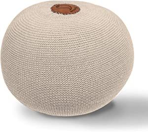 AZK Round Dori Pouf Ottoman,Hand Knit Modern Floor Pouf Round Footstool,Handmade & Hand Stitched,Pouffe seat for Living Room, Bedroom, Nursery, kidsroom, Patio, 100% Cotton Braid Cord, Ivory Pouf