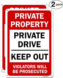 2-Pack Private Property Private Drive Keep Out Sign No Parking Sign for Driveways 14