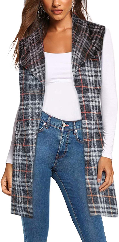 Women's Vest Jacket Plaid Cardigan self Blazer Purchase with Fabric Belt Bargain