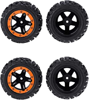 HONG YI-HAT 4Pcs for Hbx 1/12 High Speed Rc Car Tires Wheel Complete for Truck 12664 Car Parts Orange スペアパーツ (Color : Blac...