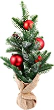 KESYOO Mini Christmas Tree with Burlap Base Artificial Tabletop Pinecone Ball Snow Xmas Tree Model Desk Ornament for Holid...