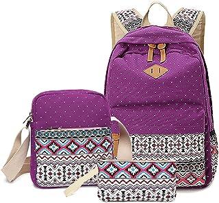 LIZAIDA MENENDEZ Geometry Dot Casual Canvas Backpack Bag,Fashion Cute Lightweight Backpacks for Teen Young