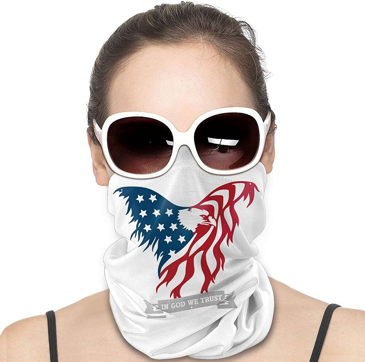 in God We Trust American Flag Round Neck Gaiter Bandnas Face Cover Uv Protection Prevent bask in Ice Scarf Headbands Perfect for Motorcycle Cycling Running Festival Raves Outdoors