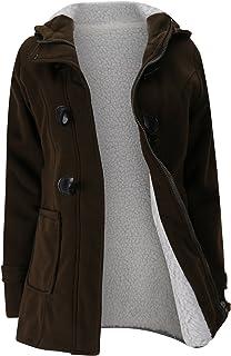 Sudadera con Capucha para Mujer de Otoño Invierno Color Sólido Jacket con Bolsillo Cremallera Cálido Chaqueta de Forro Pol...