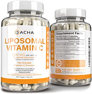 Natural Liposomal Vitamin C - 200 Capsules, 1500mg, Immune System & Collagen Booster, High Absorption Fat Soluble VIT C, B...