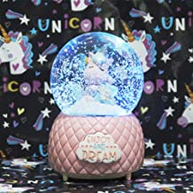 Musical Unicorn Snow Globe, Unicorn Music Box with Multiple TunesChristmas Valentines Day and Birthday Gift for Girls, Snow rotates Inside The Globe