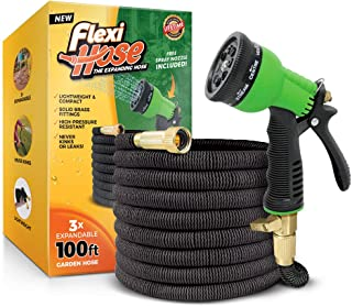 Flexi Hose & 8 Function Nozzle, 100 FT Lightweight Expandable Garden Hose | No-Kink Flexibility - Extra Strength with 3/4 Inch Solid Brass Fittings & Double Latex Core | Rot, Crack, Leak Resistant