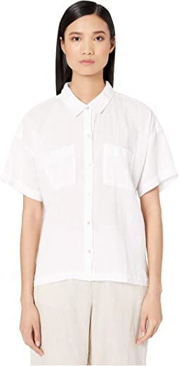 24091014 Search Results. White. 3. Eileen Fisher. Organic Handkerchief Linen Classic  Collar Shirt