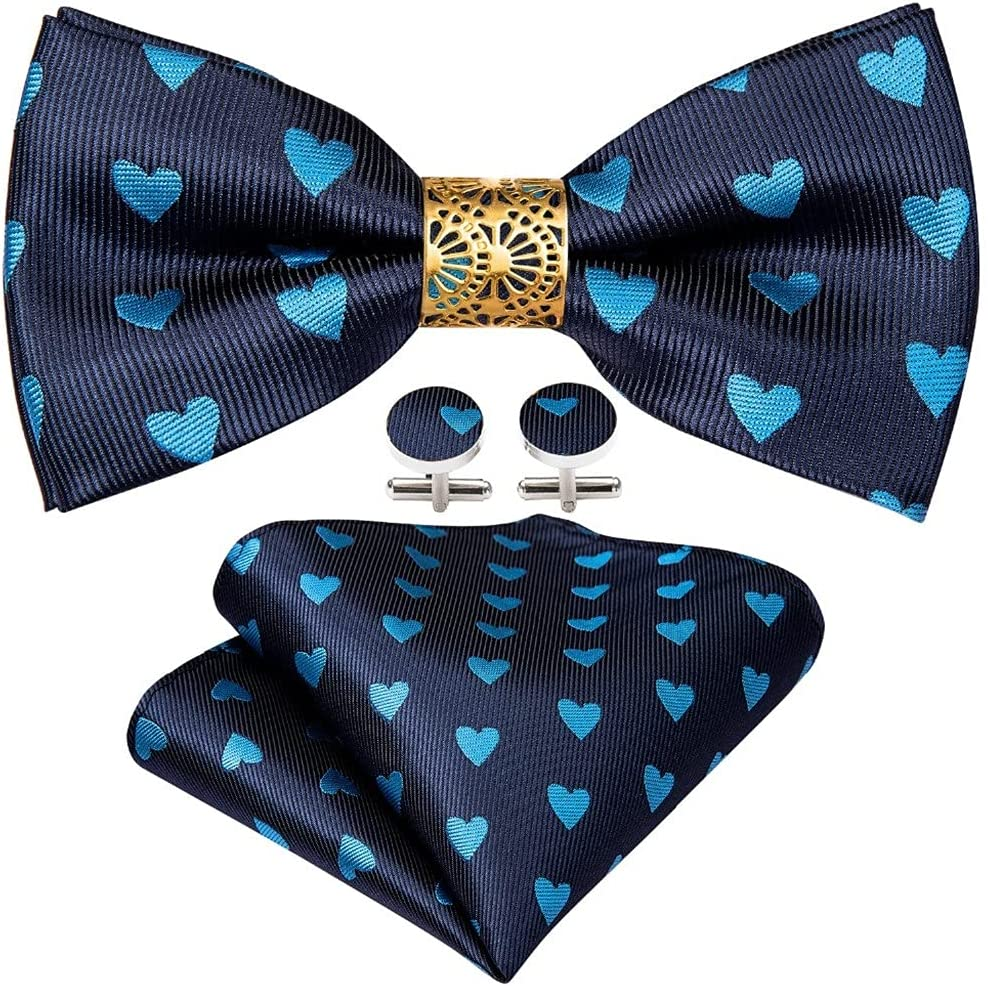 CDQYA Blue Heart Silk Pre-Bow Tie For Men Wedding Accessorie Adjustable Butterfly Handky Removable Gold Ring Set (Color : Blue Heart, Size : One size)