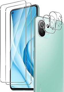 【2+2】 QULLOO for Xiaomi Mi 11 Lite 5G フィルム + カメラフィルム 強化ガラス 高硬度9H 防指紋 傷防止 耐衝撃 99%高透過率 飛散防止 Mi11 Lite 保護フィルム + レンズフィルム