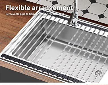 Stainless Steel Dish Drainer Drying Rack Over Sink Kitchen Foldable Rollup Mat