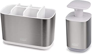 Joseph Joseph Bathroom Beauties 2-Piece Bathroom Sink Set with Toothbrush Holder and Soap Pump, Stainless Steel