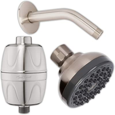 Pressure Boosting Showerhead + Filter + Arm - Small Water Saving Shower Head With High Output Filter To Remove Chlorine + 6 Inch Stainless Steel Shower Arm And Flange, 2.5 GPM - Brushed Nickel