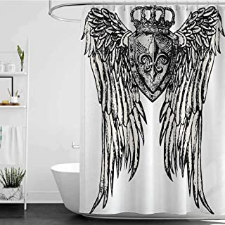 homecoco Shower Curtains and s Set Fleur De Lis Decor Collection,Tribal Tattoo Design with Wings Aged Arms Badge Crest Crown Eagle,Black and White W65 x L72,Shower Curtain for Kids
