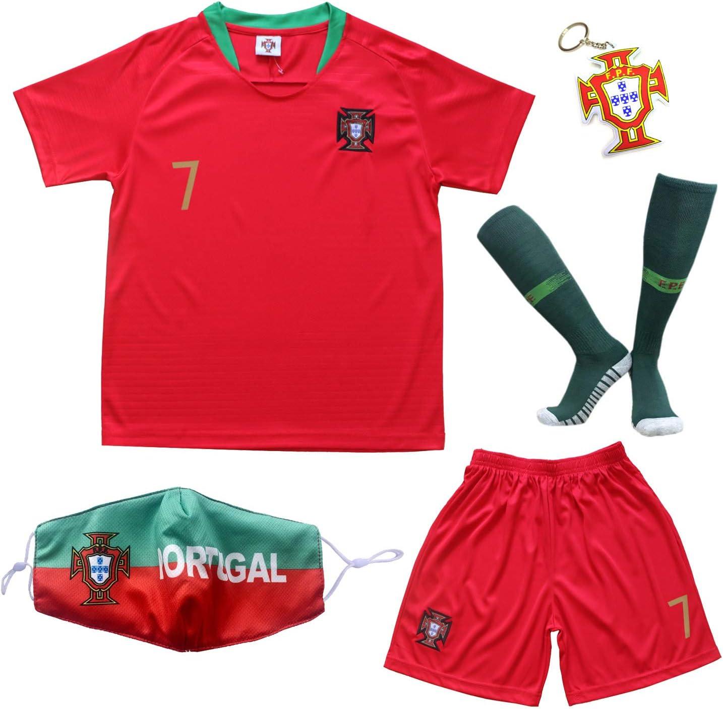 Amazon Com Birdbox 2021 Portugal Home Red 7 Cristiano Ronaldo Kids Soccer Jersey Shorts Set Youth Sizes Sports Outdoors