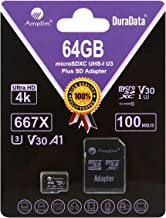 Amplim 64GB Micro SD Card Plus Adapter Pack, 64 GB MicroSD SDXC Class 10 Pro U3 A1 V30 Extreme Speed 100MB/s UHS-I UHS-1 T...