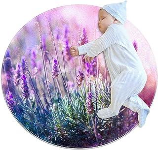 Lavendel blomväxt, barn rund matta polyester överkast matta mjuk pedagogisk tvättbar matta barnkammare tipi tält lekmatta