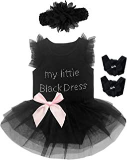Little Fancy 3 Pieces Baby Girls' Lace Tutu Dress Bodysuit with Headband and Foot Jewelry