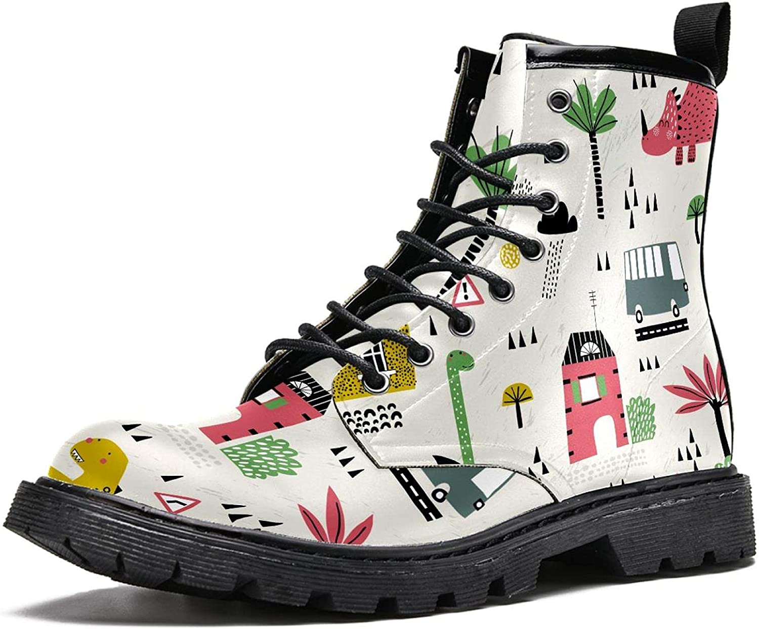Directly managed store Cartoon city with dinosaurs Men's Max 88% OFF Hiking Top Stylish Boots High