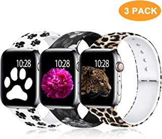 Laffav Compatible with Apple Watch Band 40mm 38mm 44mm 42mm for Women Men, Elegant Pattern Soft Silicone Sport Strap for iWatch Series 5 4 3 2 1